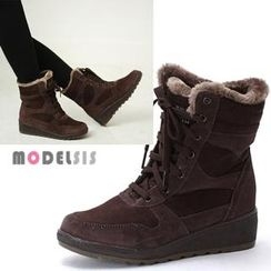 MODELSIS - Faux-Suede Lace-Up Ankle Boots