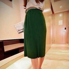 Jack Grace - Ribbed Knit Midi Skirt