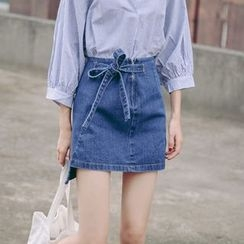 TREEZIN - Tie-Waist Denim Skirt