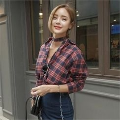 LIPHOP - Plaid Shirt with Sash