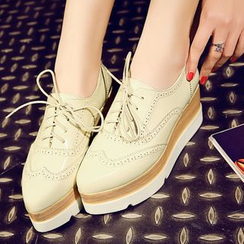 JY Shoes - Brogue Platform Oxfords