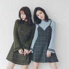 Porta - 假兩件喇叭袖連衣裙
