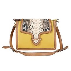O.SA - Snake-Print Contrast-Trim Cross Bag
