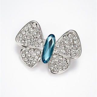 Moonbasa - Rhinestone Butterfly Brooch