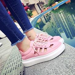 SouthBay Shoes - Cutout Platform Sneakers