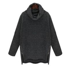 chome - Cowl Neck Side Zip Long Sweater