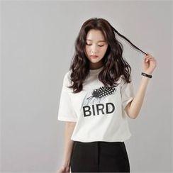 Styleberry - Printed Dip-Back T-Shirt