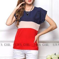 LIVA GIRL - Short-Sleeve Colour Block Chiffon Top