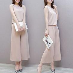 Ashlee - 套装: 纯色无袖上衣 + 宽腿裤