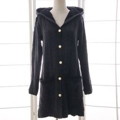 Reine - Hooded Cable Knit Long Cardigan