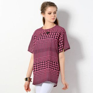 59 Seconds - Short-Sleeved Houndstooth Loose-Fit Top