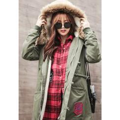 REDOPIN - Faux-Fur Hooded Drawstring-Waist Jacket