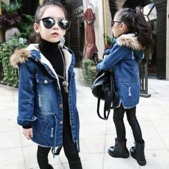 Princess House - Kids Furry Trim Hood Drawstring Waist Fleece Lined Denim Jacket