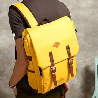 Free Shop - Faux-Leather-Trim Buckled Backpack