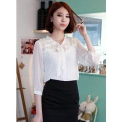 HOTPING - Tie-Neck Lace-Trim Chiffon Blouse