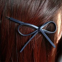 Miss Floral - Faux Leather Bow Hair Pin