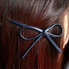 Miss Floral - 人造皮蝴蝶結髮夾