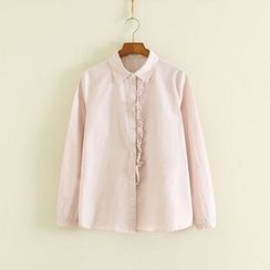 Mushi - Frill Trim Long-Sleeve Shirt
