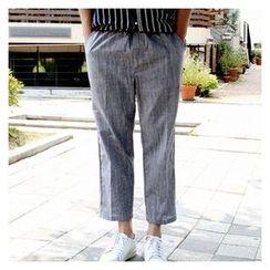 Ohkkage - Linen-Blend Wide-Leg Pants