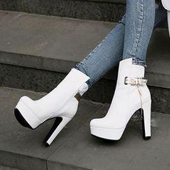 Sidewalk - Metallic Strap Platform Heeled Boots