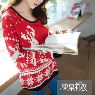 Tokyo Fashion - Contrast-Trim Nordic-Pattern Sweater