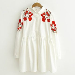 ninna nanna - Floral Embroidered Long-Sleeve Shirtdress