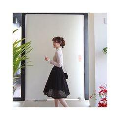 LEELIN - Band-Waist Lace Flare Skirt