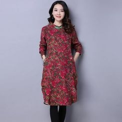Supernova - Floral Print Long-Sleeve Midi Dress