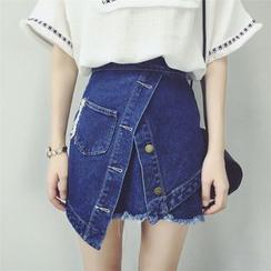 HazyDazy - Frayed Trim A-Line Denim Skirt