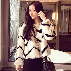 Ashlee - Striped Furry Jacket