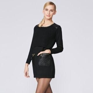 O.SA - Wool-Blend Chain-Neckline Quilted-Pocket Knit Tunic
