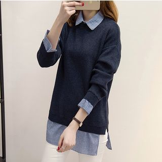 Helena - Mock Two Piece Collared Color Panel Sweater