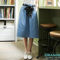 OrangeBear - Denim Midi Skirt with Dotted Sash