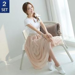 GLAM12 - Set: Open-Placket Lace-Trim T-Shirt + Banded-Waist Layered Skirt