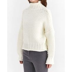 Someday, if - Mock-Neck Drop-Shoulder Waffle-Knit Sweater
