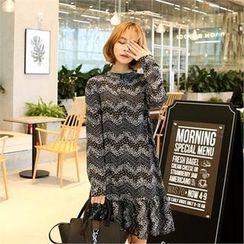 clicknme - Mock-Neck Patterned Chiffon Dress