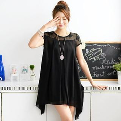 59 Seconds - Cap-Sleeve Mesh Yoke Chiffon Top