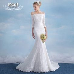 MSSBridal - Maternity Off-shoulder Elbow-Sleeve Mermaid Wedding Dress