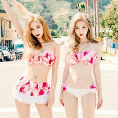 chuu - Set: Corsage Bikini Top + Swimskirt