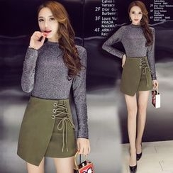 Clospace - Set: Long-Sleeve Top + Lace-Up A-Line Skirt