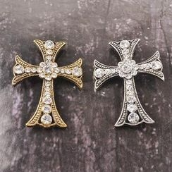 潮野 - 水钻十字架胸针