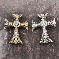 Trend Cool - Rhinestone Cross Brooch