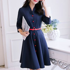YUMU - Long-Sleeve Buttoned A-Line Dress