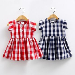 Seashells Kids - Kids Check Short-Sleeve Dress