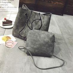 Diamante - Set: Faux Leather Bucket Bag + Crossbody Bag