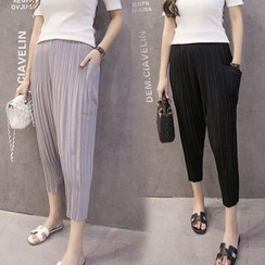 Bloombloom - Cropped Pleated Harem Pants