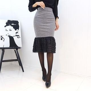 DABAGIRL - Frill-Tiered Hem Mermaid Skirt