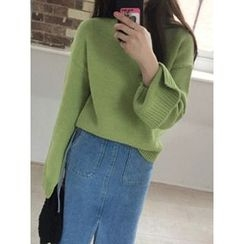 maybe-baby - Drop-Shoulder Slit-Sleeve Knit Top