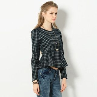 YesStyle Z - Long-Sleeved Check Peplum Top