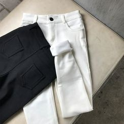 Sinbounboun - Plain Fleece-lined Skinny Pants